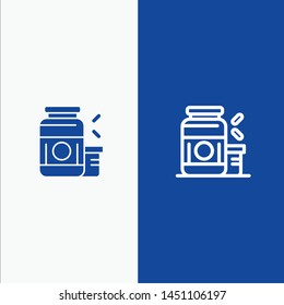 Bodybuilding, Gainer, Protein, Sports, Supplement Line and Glyph Solid icon Blue banner Line and Glyph Solid icon Blue banner