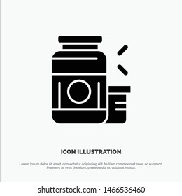 Bodybuilding, Gainer, Protein, Sports, Supplement solid Glyph Icon vector. Vector Icon Template background