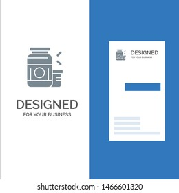 Bodybuilding, Gainer, Protein, Sports, Supplement Grey Logo Design and Business Card Template. Vector Icon Template background
