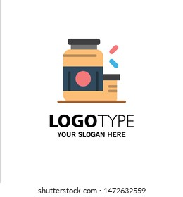 Bodybuilding, Gainer, Protein, Sports, Supplement Business Logo Template. Flat Color
