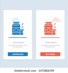 Bodybuilding, Gainer, Protein, Sports, Supplement  Blue and Red Download and Buy Now web Widget Card Template