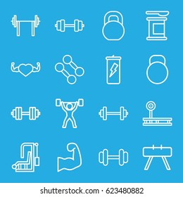 Bodybuilding icons set. set of 16 bodybuilding outline icons such as barbell, heart with muscles, kettle, muscular arm, power lifter, barbell   isolated, dumbbell