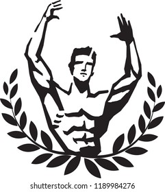 Bodybuilding. Logo design. Strong man with muscles in a pose. Illustration.