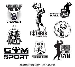 Bodybuilding logotype sign symbol. Fitness room logos emblems design element. Sports icons and elements. Gym bodybuilding icon icons. Bodybuilder , athlete icon. Sports equipment icons.