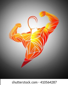 Bodybuilding, muscles, vector