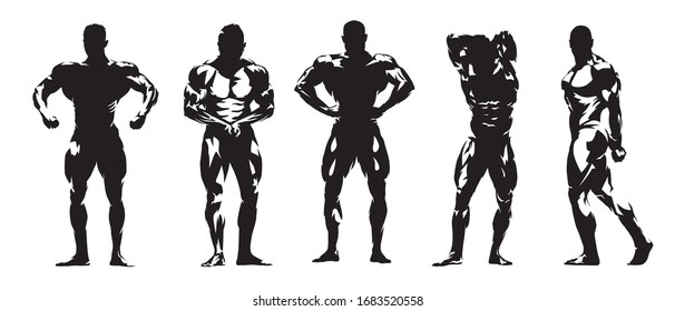 Bodybuilding posing, group of isolated vector silhouettes. Ink drawing, set of isolated bodybuilders with big muscles