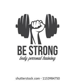 Bodybuilding, powerlifting, kettlebell, workout, fitness logo template. Gym club logotype. Bodybuilder Sportsman Fitness Model Illustration Sign Symbol badge