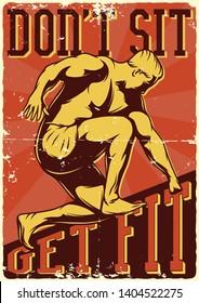 Bodybuilding vintage poster with illustration of bodybuilder in heroic pose. Motivational illustration.