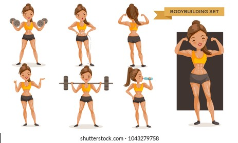 Bodybuilding woman set. many views of exercise. front, side, rear,  body with muscles of beautiful cartoon. cute girl in a fitness suit. Strong lifestyle concept, vector illustrations Isolated