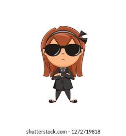 Bodyguard girl, vector illustration