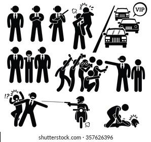 Bodyguard Protecting VIP Boss From Paparazzi and Killer Stick Figure Pictogram Icons