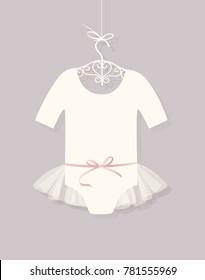 bodysuit for girls on the rack. ballet tutu.