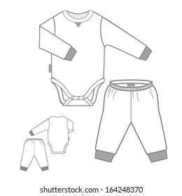 Bodysuit with a long sleeve and Play Pant Set for children (Vector)