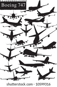 Boeing 747 airplane silhouettes