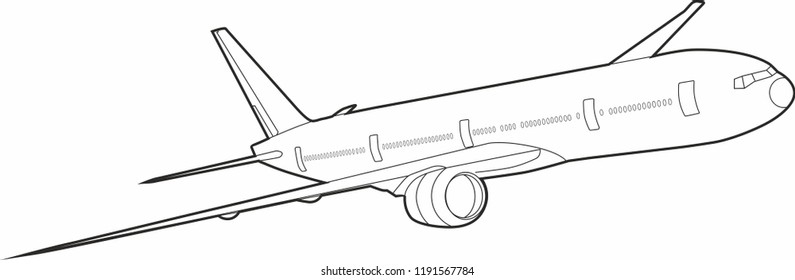 Boeing 777 aircraft vector. Aircraft. Black and white boeing. Flying airplane. Big Commercial airplanes. Vector illustration.