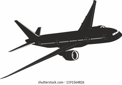 Boeing 777 aircraft vector. Boeing 777. Flying aircraft vector. Black and white. Big Commercial airplanes. Vector illustration.
