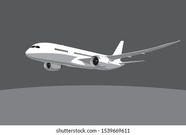 Boeing 787 Dreamliner. Flying airplane, takeoff airliner, commercial jet aircraft, airliner. Vector illustration. Vector template.