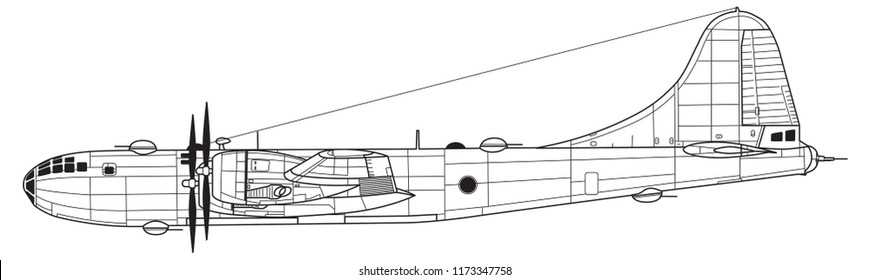 Boeing B-29 SUPERFORTRESS. Outline vector drawing