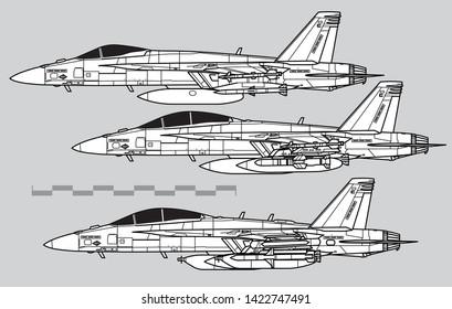 Boeing F-18E Super Hornet. Outline vector drawing