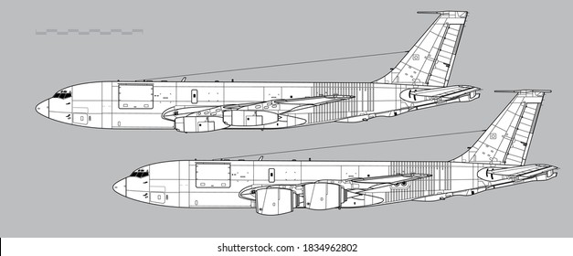 Boeing KC-135 Stratotanker. Vector drawing of aerial refuelling and transport aircraft. Side view. Image for illustration and infographics.