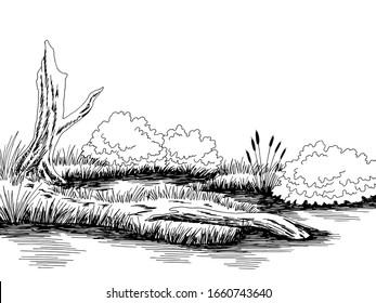 Bog swamp graphic black white landscape sketch illustration vector