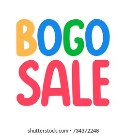 Bogo or buy one get one free sale. Vector hand drawn illustration on white background.