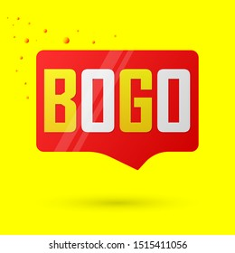 BOGO, sale banner design template, buy 1 get 1 free, discount speech bubble tag, vector illustration