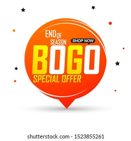 BOGO, sale banner design template, buy 1 get 1 free, discount speech bubble tag, end of season, special offer, vector illustration