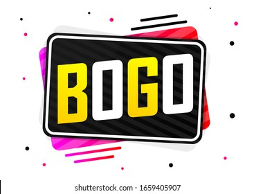 BOGO, Sale banner design template, buy 1 get 1 free, great offer, discount tag, app icon, vector illustration
