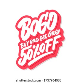 BOGO sale. Buy one get one 50% off! Vector lettering icon.