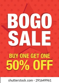 BOGO sale - Buy one get one 50% off