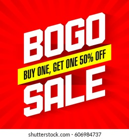 BOGO Sale, Buy One and Get One 50% Off Sale banner vector illustration