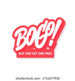 BOGO sale icon. Buy one get one free. Vector lettering.