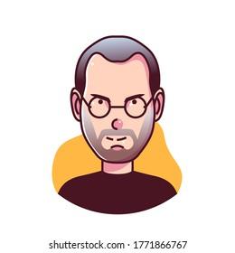 Bogor Indonesia, july 08 2020: Cartoon version of Steve Jobs, American business magnate