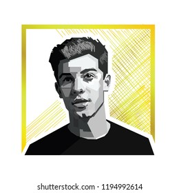 Bogor Indonesia, October 4th 2018: vector isolated potrait stylized illustration of Shawn Mendes, an Canadian Singer and Songwriter.