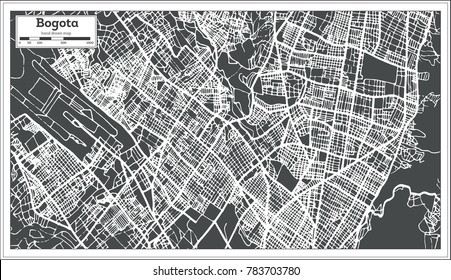 Bogota Colombia City Map in Retro Style. Outline Map. Vector Illustration.
