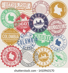 Bogota Colombia Set of Stamps. Travel Stamp. Made In Product. Design Seals Old Style Insignia.