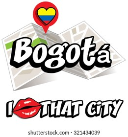 Bogota. I Love That City. Vector Illustration with country flag.