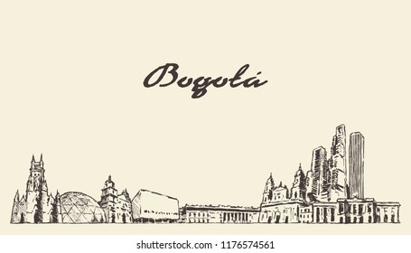 Bogota skyline, Colombia, hand drawn vector illustration, sketch