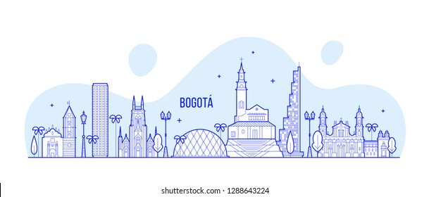 Bogota skyline, Distrito Capital, Colombia. This illustration represents the city with its most notable buildings. Vector is fully editable, every object is holistic and movable