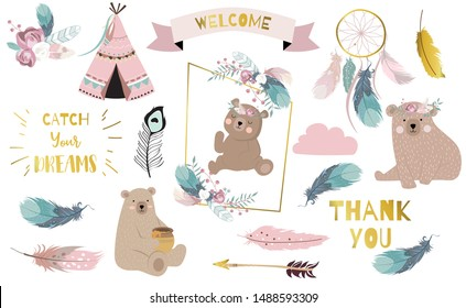Bohemian animal object set with bear,dreamcatcher,feather,arrow,cloud. illustration for logo,sticker,postcard,birthday invitation.Editable element