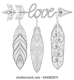 Bohemian Arrow, Hand drawn Amulet wih word Love and feathers. Esoteric decor for adult coloring pages, art therapy, ethnic patterned t-shirt print. Boho chic style. Doodle Illustration, tattoo design.