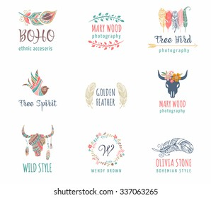Bohemian, Boho, tribal, ethnic icon set with feather, bird and wreath