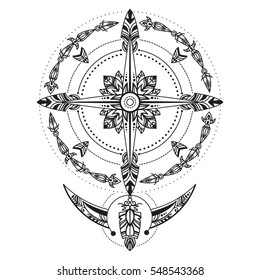 Bohemian compass. Compass in a vintage boho and tribal style. Vector illustration. Good for flash tattoo and for hippie projects design. Dreamcatcher