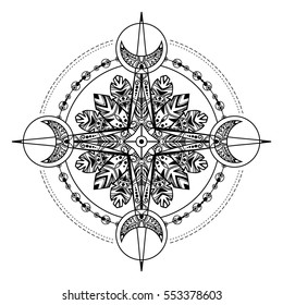 Bohemian compass. Compass in a vintage and tribal style. Vector illustration. Good for flash tattoo and for hippie and gypsy design projects