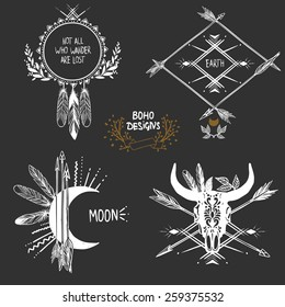 Bohemian designs. Vector set.