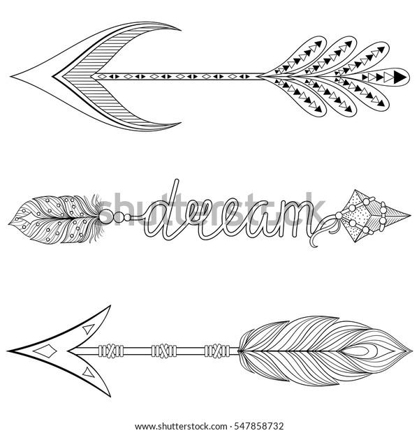 Bohemian Dream Arrows Set Feathers Adult Stock Vector ...