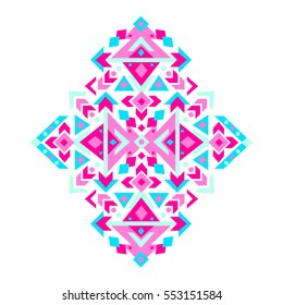 Bohemian ethnic print with geometric ornament. Esoteric or mystic aztec, mexican native pattern. Magic romantic tribal. Vector illustration in pink and blue neon colors