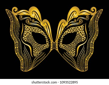 Mardi Gras Carnival Mask Lace Golden Stock Vector Royalty Free