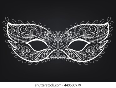 Bohemian Festive vector mask for adult coloring page, fashion print, art therapy, hand drawn ethnic patterned t-shirt print. Boho chic style. Doodle Illustration, tattoo design.